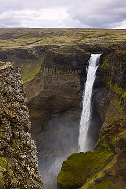 Haifoss waterfall with 120 meters height, Hekla, Iceland, Europe
