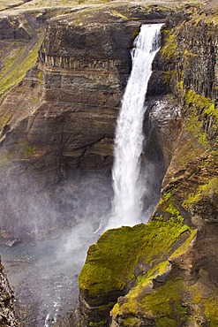 Haifoss waterfall with 120 meters descent, Hekla, Iceland, Europe