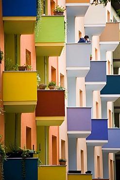 Colourful house facade after renovations, Berlin-Kreuzberg, Germany, Europe