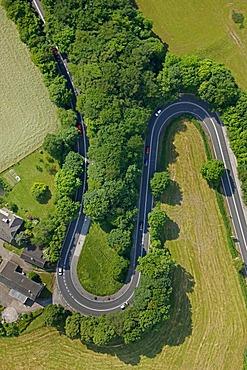 Aerial view, double bend, Kuhlendahler Strasse Road, Neviges, Velbert, Ruhrgebiet region, North Rhine-Westphalia, Germany, Europe
