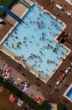 Aerial view, open air pool, Hamm, North Rhine-Westphalia, Germany, Europe