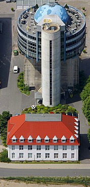Aerial view, bunker, globe, office building, conversion, World War II bunker, concrete building, Rauendahl, Hattingen, Ruhrgebiet region, North Rhine-Westphalia, Germany, Europe