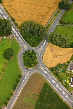 Aerial view, tangent, Kamener Kreuz junction rebuilding, A1 and A2 motorways, Kamen, Ruhrgebiet region, North Rhine-Westphalia, Germany, Europe