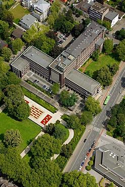 Aerial view, town hall Oberhausen, Ruhrgebiet region, North Rhine-Westphalia, Germany, Europe