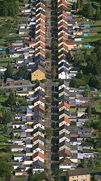 Aerial view, colliery village, row houses, Koenigsborn Friedrichstrasse, Alteheide, Unna, Ruhrgebiet region, North Rhine-Westphalia, Germany, Europe