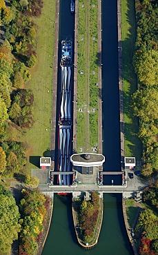 Aerial shot, lock Emschergenossenschaft, Rhein-Herne Canal, Gelsenkirchen, North Rhine-Westphalia, Germany, Europe
