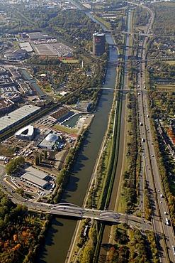 Aerial, Emscher Gasometer, A42 motorway, Rhine-Herne Canal, Oberhausen, North Rhine-Westphalia, Germany, Europe