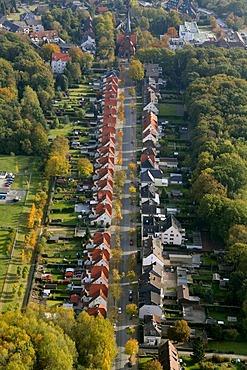 Aerial, townhouses, colliery village, Elisa Brandstroem Strasse, Brambauer, Luenen, Ruhr Area, North Rhine-Westphalia, Germany, Europe