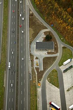Aerial photo, Rhyner motorway restaurant, Hamm, Ruhr Area, North Rhine-Westphalia, Germany, Europe
