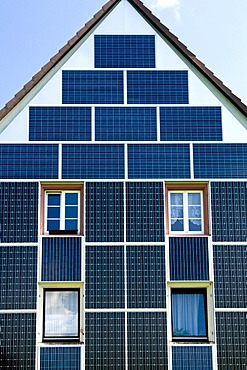 Solar panels on a building front