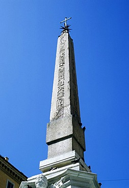 Obelisk at the square in front of the Pantheon, Rome, Italy, Europe
