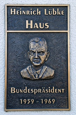 Plaque and relief at the Heinrich Luebke Haus, Federal President 1959-69, Meschede, Sauerland region, North Rhine-Westphalia, Germany, Europe