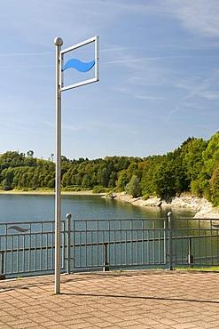 Platform on the dam of the Henneseestausees reservoir in Meschede, Sauerland region, North Rhine-Westphalia, Germany, Europe