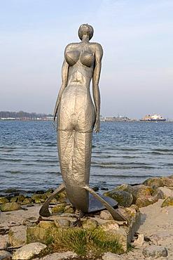 Eckernfoerder Nixe mermaid sculpture by E. Kawalke, Baltic resort Eckernfoerde, Schleswig-Holstein, Germany, Europe