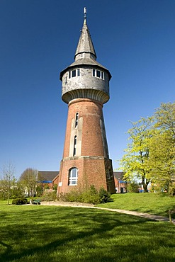 Water tower in the castle gardens, Husum, North Sea, North Friesland, Schleswig-Holstein, Germany, Europe