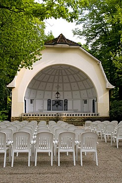 Bandshell in the spa gardens and concert garden, Bad Rothenfelde, Osnabruecker Land region, Lower Saxony, Germany, Europe