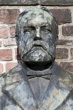 Statue of Josef Gabriel von Rheinberger, composer, privy councilor, professor, 1839-1901, Vaduz, Principality of Liechtenstein, Europe