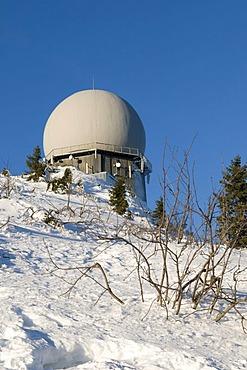 Radar tower on the Grosser Arber, Bavarian Forest Nature Park, Bavaria, Germany, Europe