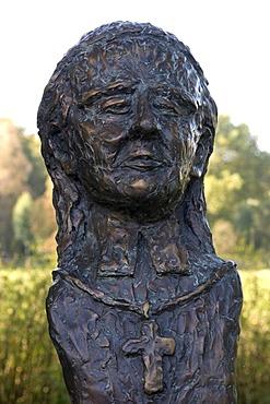 Bust of Caspar Max Freiherr Droste zu Vischering, 1770-1846, Bishop of Munster, Luedinghausen, Muensterland region, North Rhine-Westphalia, Germany, Europe