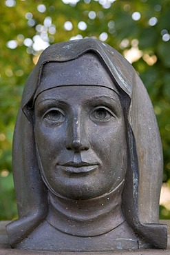 Bust of Sister Mary of the Divine Heart, born Countess von Droste Vischering, 1863-1899, Mother Superior in Porto, Portugal, beatified in 1975, Luedinghausen, Muensterland region, North Rhine-Westphalia, Germany, Europe