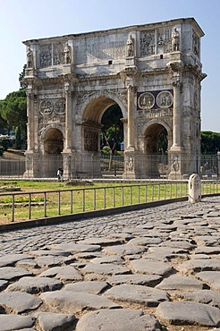 Old pavement at the Arch of Constantine triumphal arch, Rome, Italy, Europe