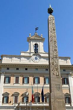 Obelisk and Palazzo di Montecitorio palace in the Piazza di Montecitorio square, Rome, Italy, Europe