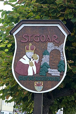 Sign of St. Goar, Upper Middle Rhine Valley UNESCO World Heritage Site, Rheingau, Rhineland-Palatinate, Germany, Europe