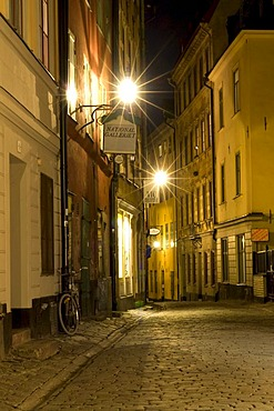 Historic town Gamla Stan, night shot, Stockholm, Sweden, Scandinavia, Europe