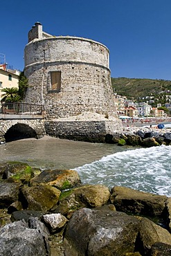 Stone tower on the coast, Alassio, Italian Riviera, Liguria, Italy, Europe