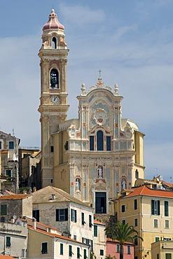 Baroque church of San Giovanni Battista in the historic town, Cervo, Riviera, Liguria, Italy, Europe