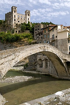 Arch bridge and Castello Doria, mountain village Dolceacqua in the Nervia Valley, Riviera, Liguria, Italy, Europe