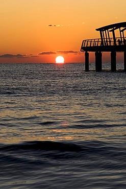Sunset at the pier, Lido di Camaicre resort, Versilia, Riviera, Tuscany, Italy, Europe