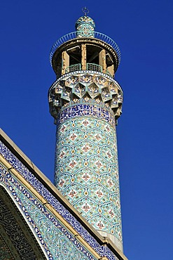 Colorful tiles at the historic Friday or Congregational Mosque in Hamadan, Hamedan, Iran, Persia, Asia