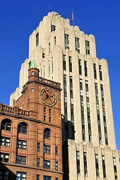 Historic skyscraper, Aldred Building, Vieux Montreal, Old Montreal, Quebec, Canada, North America