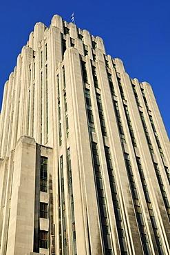 Historic Art Deco skyscraper, Aldred Building, Vieux Montreal, Old Montreal, Quebec, Canada, North America