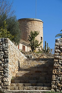 Stairs, Finca Son Mas, near Porto Cristo, Majorca, Balearic Islands, Spain, Europe