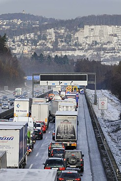 Traffic jam after an accident on the A81 highway in Leonberg, Baden-Wuerttemberg, Germany, Europe