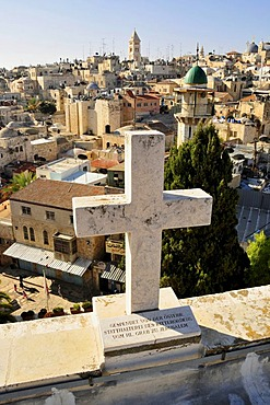View of the historic centre of Jerusalem from the panorama terrace of the Austrian Pilgrims Hospice, Israel, Middle East, Orient