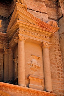 Facade of the treasury, Khazne Faraun, in the Nabataean city Petra, Unesco World Heritage Site, near Wadi Musa, Jordan, Middle East, Orient
