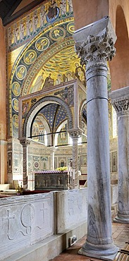 Ciborium from the 12th Century in front of an apse mosaic from the 6th Century, Euphrasian Basilica in Porec, Croatia, Europe