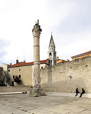Roman column at the Forum in Zadar, Croatia, Europe