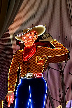 Vegas Vic, the famous cowboy figure in Fremont Street in old Las Vegas, Nevada, USA