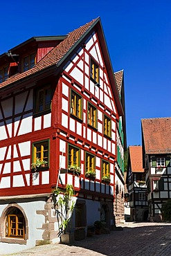 The Hintere Staedtle part of the town center, half-timbered houses, Schiltach, Black Forest, Baden-Wuerttemberg, Germany, Europe