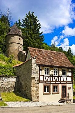 City walls with Torwaerterhaeuschen house of the gate guard, Horb am Neckar, Black Forest, Baden-Wuerttemberg, Germany, Europe