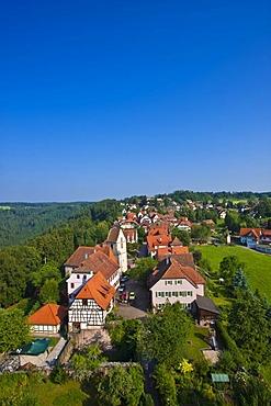 View of Zavelstein from the Burgruine Zavelstein castle ruins, Bad Teinach Zavelstein, Black Forest, Baden-Wuerttemberg, Germany, Europe