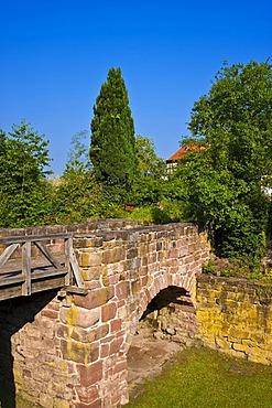 Castle moat with bridge, Burgruine Zavelstein castle ruins, Bad Teinach Zavelstein, Black Forest, Baden-Wuerttemberg, Germany, Europe