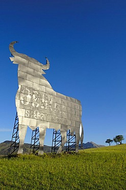Bull silhouette, typical advertising of Spanish sherry Osborne, Malaga, Spain, Europe