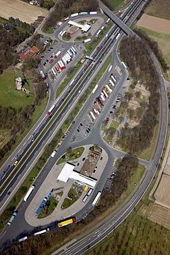 A57 motorway, near Krefeld, roadhouse Geismuehle West and Ost, Krefeld, North Rhine-Westphalia, Germany, Europe