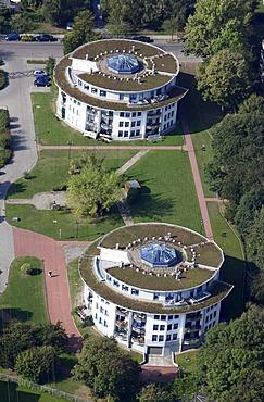 Round multi-family houses in Essen-Schonnebeck, am Drostenbusch, Essen, North Rhine-Westphalia, Germany, Europe