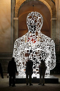 """We"", sculpture by Jaume Plensa, iron letters collage, painted, Residenzgalerie art gallery at the cathedral, Salzburg, Austria, Europe"